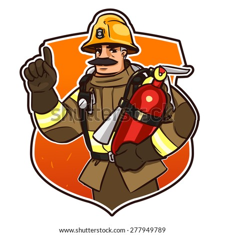 firefighter with the fire extinguisher. cartoon character isolated on white - stock vector