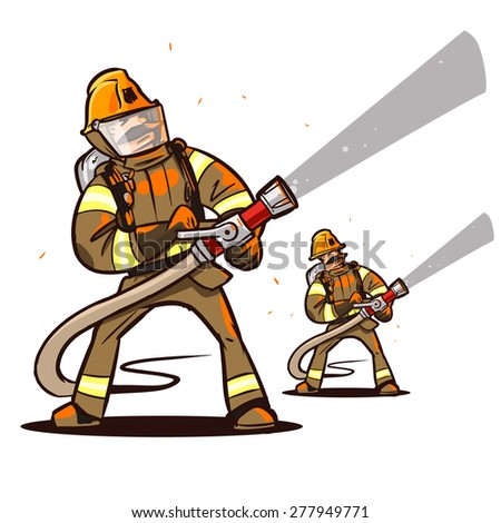 firefighter with the hose extinguish a fire - stock vector