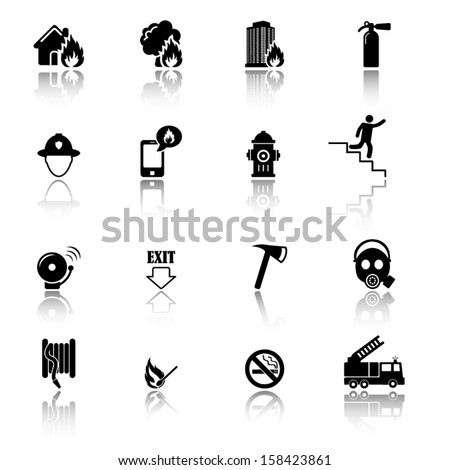 Firefighters and fire prevention icons - stock vector