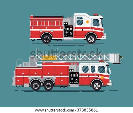 Firefighters emergency vehicles. Cool vector emergency vehicles fire engine trucks featuring telescopic ladder tower platform truck in trendy flat design - stock vector