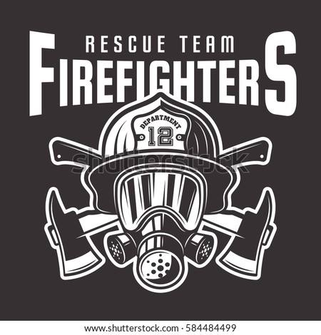 Firefighters vector emblem, label or t-shirt print with fireman head in helmet and two crossed axes isolated on dark background