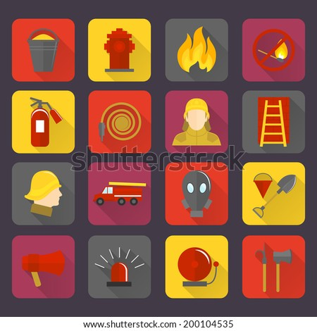 Firefighting icons set of flame water hose mask and helmet isolated vector illustration - stock vector