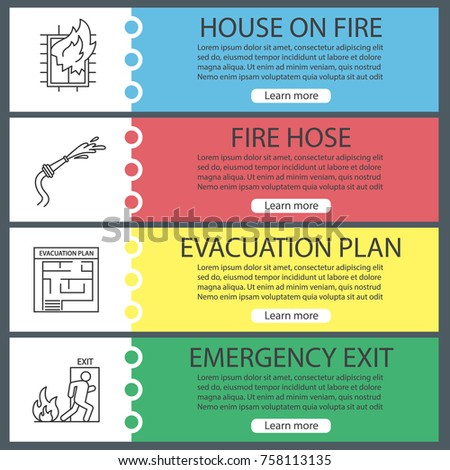 Emergency evacuation plan stock images royalty free images firefighting web banner templates set house on fire evacuation plan hose emergency pronofoot35fo Images