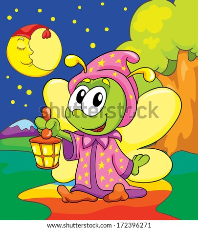 firefly in pajamas on colored background, vector illustration - stock vector