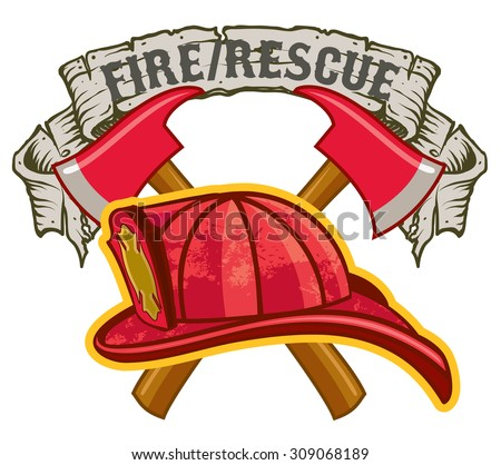 Fireman hat and crossed axes with Fire Rescue Banner symbol - stock vector