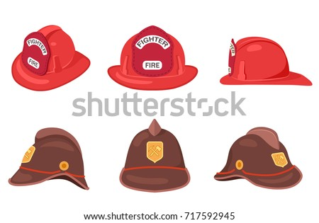 Fireman helmets set side front and back view vector illustrations isolated on white. Hats of firefighter with metal emblems, red and brown fireman cups, uniform headwear