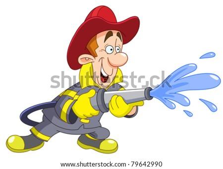 Fireman holding a fire hose - stock vector