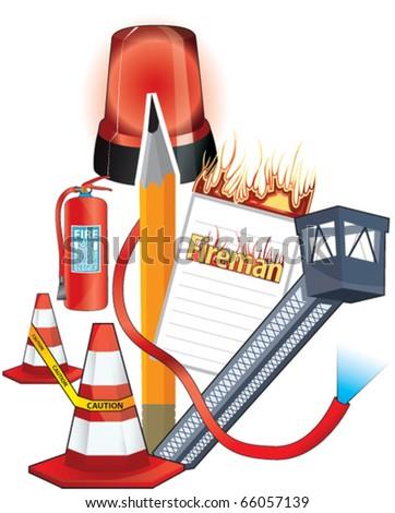 fireman, pen, penman - stock vector