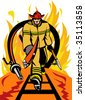 Fireman walking out from burning fire  with ax , spear hook and fire hose. - stock vector