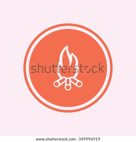 Fireplace and fire icon, vector illustration. Flat design style - stock vector