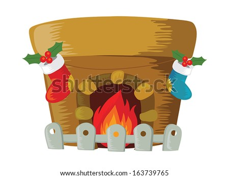 Fireplace decorated for Christmas - stock vector