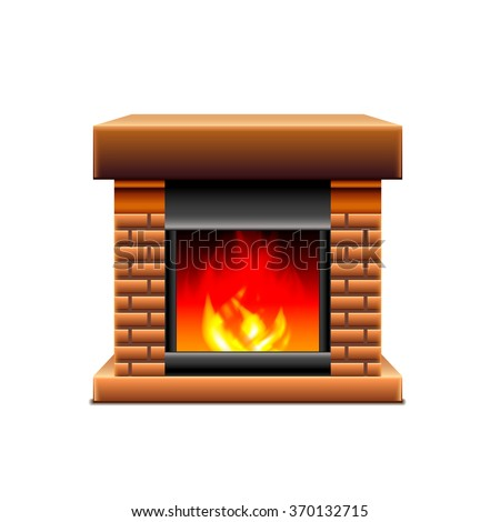 Fireplace isolated on white photo-realistic vector illustration