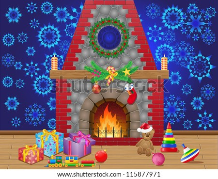 fireplace room with christmas gifts and decorations vector illustration