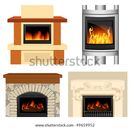 Fireplace set, vector iilustration - stock vector
