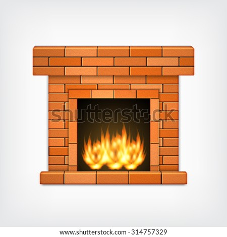 Fireplace. Vector icon. EPS10