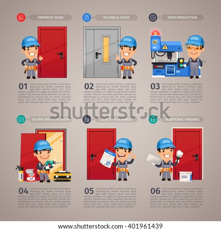 Fireproof Door Production Step by Step with Cartoon Character. In the EPS file, each element is grouped separately.  - stock vector