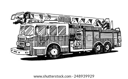 Firetruck vector drawing on white background - stock vector