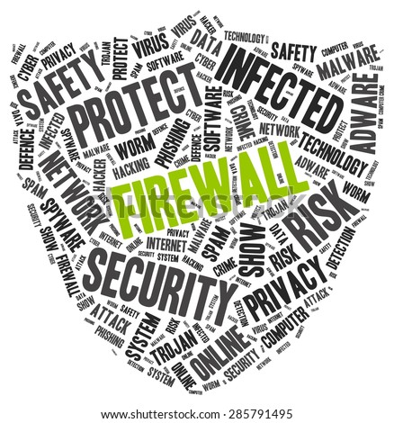 Firewall word cloud with another PC protection tags, vector illustration - stock vector