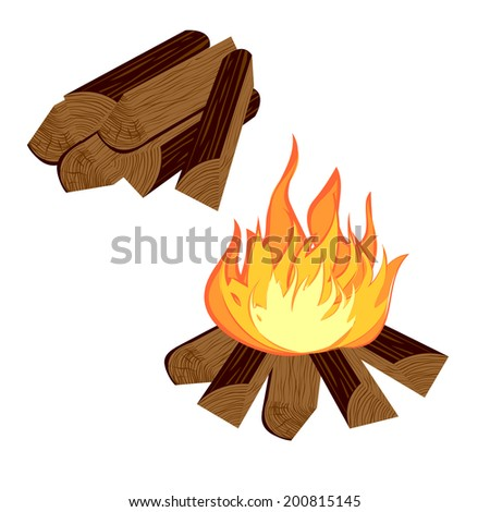firewood and fire - stock vector