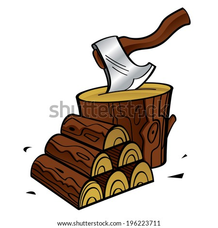 Firewood - stacked wooden blocks and axe - stock vector