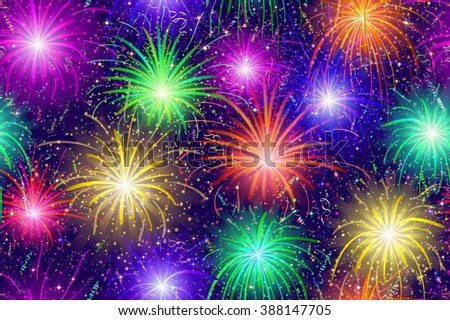 Firework Background Seamless of Various Colors. Pattern for Holiday Design. Eps10, Contains Transparencies. Vector - stock vector