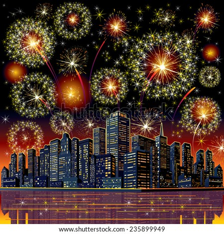 Firework City At Night. Vector Image - stock vector