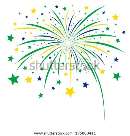 Firework design on white background  - stock vector