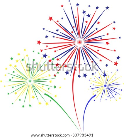 Firework design on white background. vector illustration,