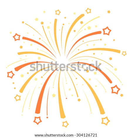 Firework design  with yellow and  orange stars on white background - stock vector
