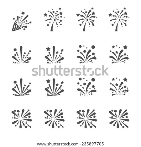 firework icon set, vector eps10. - stock vector
