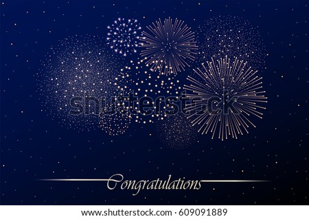 Firework show on night sky background. Independence day concept. Congratulations background. Vector illustration