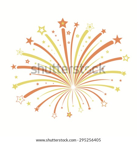 Firework with red and yellow stars, star burst, holiday explosion - vector illustration - stock vector
