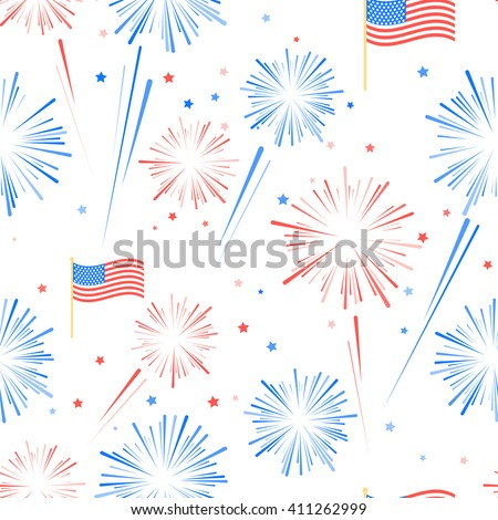 Fireworks and stars in American national flag colors. Seamles pattern for US Independence Day 4th of July. Vector illustration on white background - stock vector