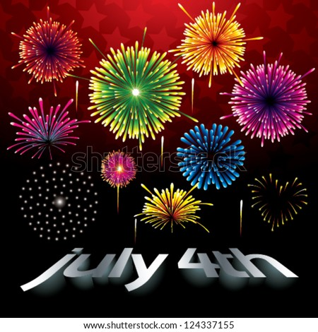 fireworks at the independence day - stock vector