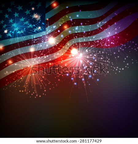 Fireworks background for  Independence Day - stock vector