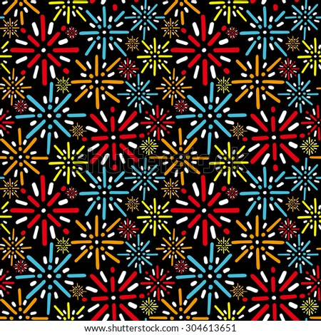 Fireworks background. Seamless pattern. Vector.