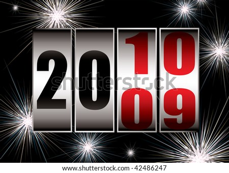Fireworks celebrating the 2010 new year with black sky - stock vector