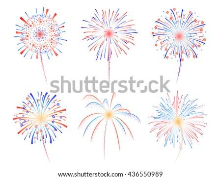 Fireworks celebration vector illustration - stock vector