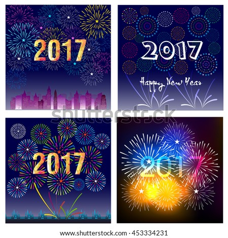 Fireworks display happy New Year 2017 collection