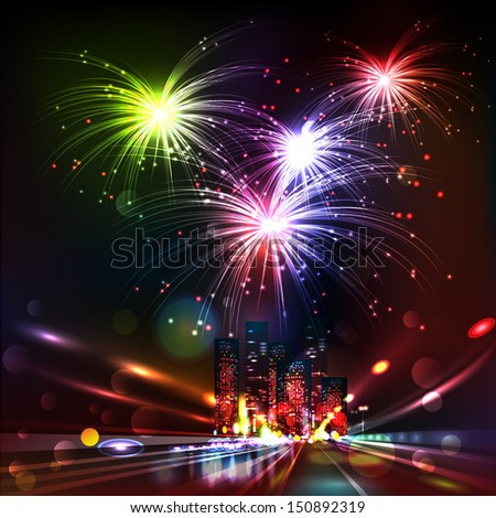 Fireworks Display over the Night City, vector illustrated background.  Blurred Defocused Lights of Heavy Traffic on a Wet Rainy - stock vector