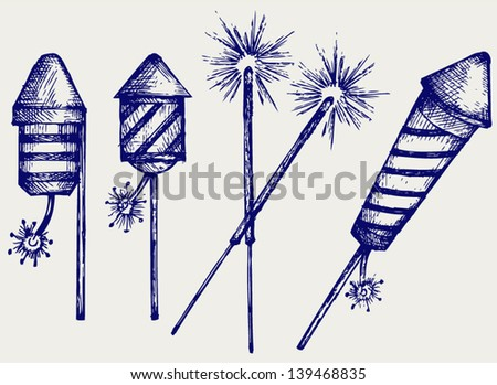Fireworks. Doodle style - stock vector