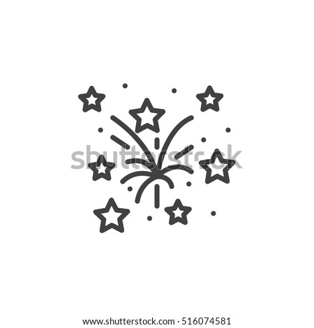 Fireworks line icon, outline vector sign, linear pictogram isolated on white. logo illustration