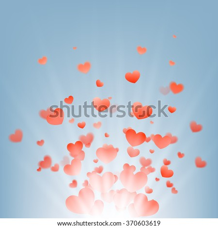 fireworks of hearts on a blue background, vector