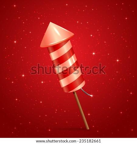 Fireworks rocket on red starry background, illustration. - stock vector