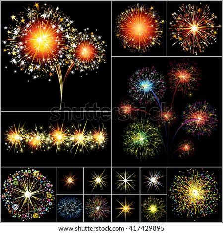 Fireworks, Salutes, Stars, Sparks, Explosions Isolated Vector Design Elements. Colorful Vector Clip Art. Ready for Your Design. - stock vector