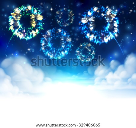 Fireworks sky background with clouds and stars. Fades to white at the bottom for easy use as border design or header.  - stock vector