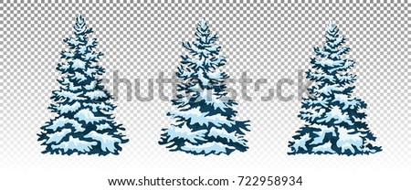 A Set Of Christmas Trees With Snow Isolated Festive