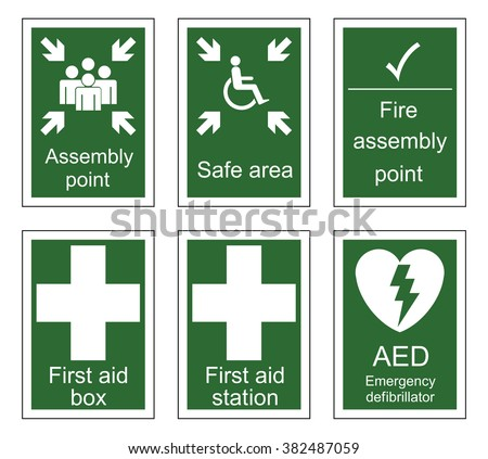 First aid and assembly sign set isolated on white background - stock vector