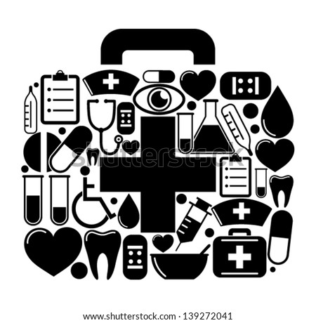 First aid box of of medical icons