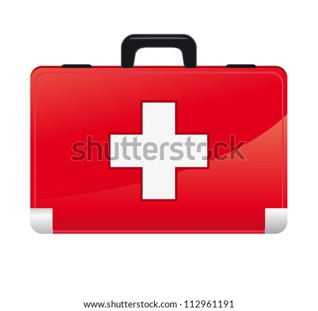 first aid box on white background - stock vector
